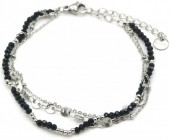 F-C5.3 B1561-101 S. Steel Bracelet with Glass Beads and Coins Silver