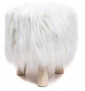 ST002-001 Stool with Fake Fur 31x34cm White