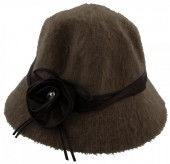 T-A4.2 Woolen Hat with Ribbon and Flower Green