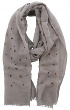 X-I7.1 S004-015 Scarf with Dots - Hearts and Golden Glitters 180x70cm Grey