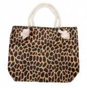 BAG127-001 Soft Beach Bag with Giraffe Print 43x34cm Brown