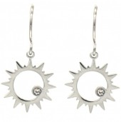 B-C19.1 E2004-002 S. Steel Earrings Sun 14mm Silver