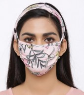 R-D7.2 Set Face Mask with Headband - Washable - Flower- Pink