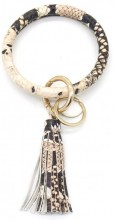 S-D6.4 BC514-001A Bag - Key Chain Ring with Tassel Snake Beige