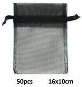 C-B15.1 Organza Gift Bag 16x10cm Black 50pcs