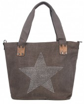 Q-M6.2 BAG017-005 Brown Canvas Bag with Studded Star 43x31x16cm