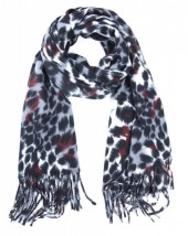 Y-D5.3 SCARF404-007 Soft Scarf with Animal Print 190x60cm Grey