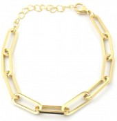 A-C15.3 B2003-005G S. Steel Chain Bracelet Gold