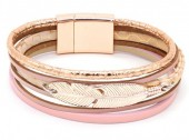 B104-004 Leather Bracelet with Feather Rose Gold-Pink