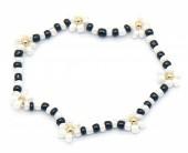 C-E5.5 B1561-033 Elastic Glass Bracelet Flowers Black-White