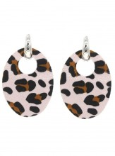 E220-005 Trendy Leopard Earrings Oval Light Pink