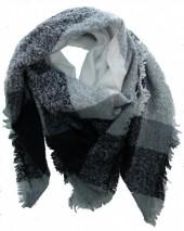 K-E7.1 Wool - Viscose Scarf Black-Grey-White 140x140cm