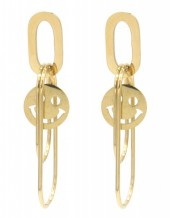 D-C19.5 E2126-003G S. Steel Earrings Smiley 4.5x1.5cm GoldD-C19.5 E2126-003G S. Steel Earrings Smiley 4.5x1.5cm Gold