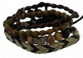 D-D18.2 E032-006 Unisex Bracelet Set Rope-Wood-Stone