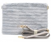T-N7.2  BAG190-006 Soft Fake Fur Clutch-Bag Grey 30x17x4 cm