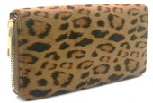 R-F3.2 WA529-004A PU Wallet Leopard 19x10cm Light Brown