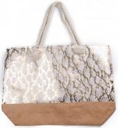 T-G6.1 BAG217-020 Beach Bag Wicker Snake Pink-Gold 55x40x15cm