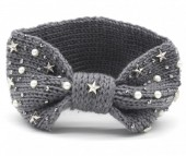 R-M2.1 Knitted Headband with Stars-Pearls-Crystals Grey