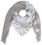 T-J6.1 S001-001 Square Scarf with Stars 140x140cm Brown