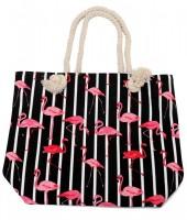 BAG217-002 Striped Beach Bag with Flamingos 43x34cm Black