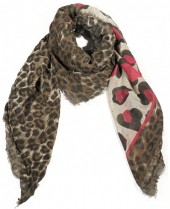 R-H8.1 S106-001 Square Scarf with Animal Print and Glitters 140x140cm Brown-Pink