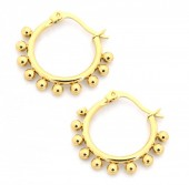 C-C8.3  E1264-004S Stainless Steel Earrings with Dots 15mm Gold