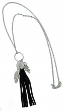 C-F8.2 Long Necklace with Tassel and Feathers 70-77cm