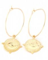 E-A9.1  E304-001 Hoop Earrings with Eye Gold