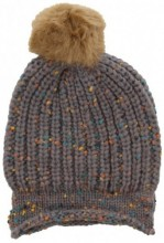 T-B6.2 Spotted Beanie with Fake Fur Pompon Grey