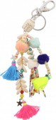 C-A16.1 K009-018 Key-Bag Chain with Stone Buddha Shells Tassels and Pompoms