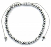 B-F2.1 B2039-012B Bracelet Faceted Glass Beads Silver