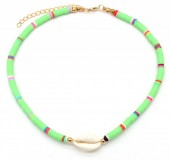 D-E2.1  N1925-009 Choker Surf Beads with Shell 37-43cm Green