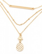 G-A5.1 G-A5.1 N304-049 Necklace with 3 Layers Bar and Pineapple Gold
