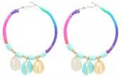 F-E21.2 E536-070A Earrings 5.5cm Creoles Shells Multi-Blue