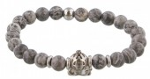 A-B4.3  S. Steel Bracelet with Semi Precious Stones Grey