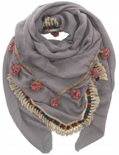 S005-001B Ibiza-Boho Scarf with Tassels and Fringes 140x140cm Grey