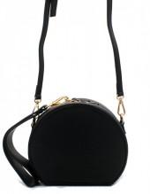 Y-A1.5 BAG215-001 Round PU Bag with Large Handle Black 18x15x9 cm