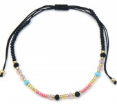 A-E19.5  B2039-013D Bracelet with Glass Beads Grey-Pink-Black-Gold