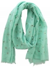 X-I2.2 S004-015 Scarf with Dots - Hearts and Golden Glitters 180x70cm Green