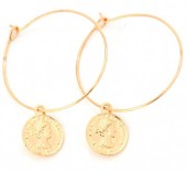 E-C4.2  E304-005 Hoop Earrings with Coin Gold