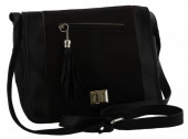 S-B5.3 Black Leather Cross Body Bag with Mixed color Cow Hide - Every Bag is Unique 35x25x12cm
