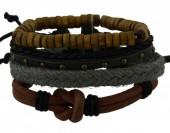 C-C19.1  E032-010 Unisex Bracelet Set Rope-Wood-Leather