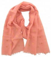 X-I2.1 S004-013 Scarf with Golden Bees  180x70cm Pink