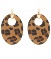 E220-005 Trendy Leopard Earrings Oval Brown