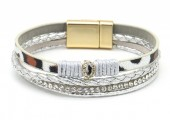 C-C20.2 B1633-010D PU Bracelet Leopard with Crystals Grey