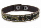 B-E5.6 B1202-214 Bracelet with Leopard Print and Crystals Green
