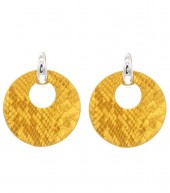 E220-004 Trendy Snakeskin Earrings Round Ocher Yellow
