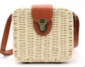 Y-C2.1 BAG323-001 Square Straw Bag with PU Straps Beige