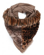 Y-F6.5 SCARF409-002 Exclusive Fake Fur Scarf with Animal Print 180x90cm