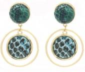 C-E18.2 E1631-009A Earrings Snake Green 5x3cm Gold